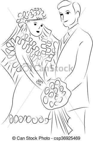 311x470 Just Married Couple Cartoon.