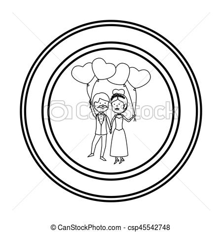 450x470 Just Married Couple Character Card Vector Illustration Eps