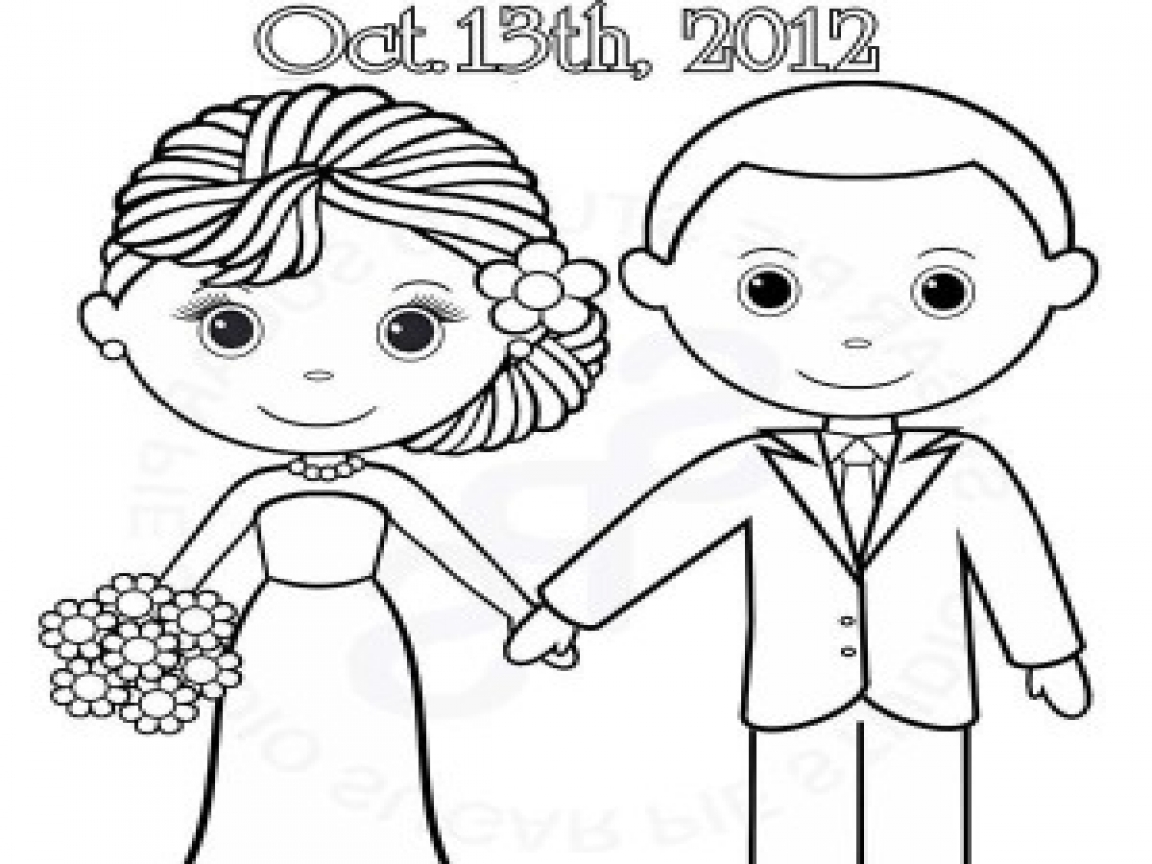 1152x864 Wedding Couple Easy Coloring Getting Married Page