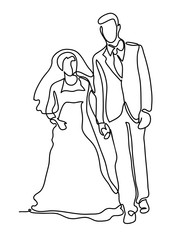 172x240 Bride And Groom, Kissing Romantic Married Couple. Continuous Line