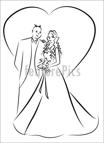 364x500 Celebration Just Married Couple Cartoon