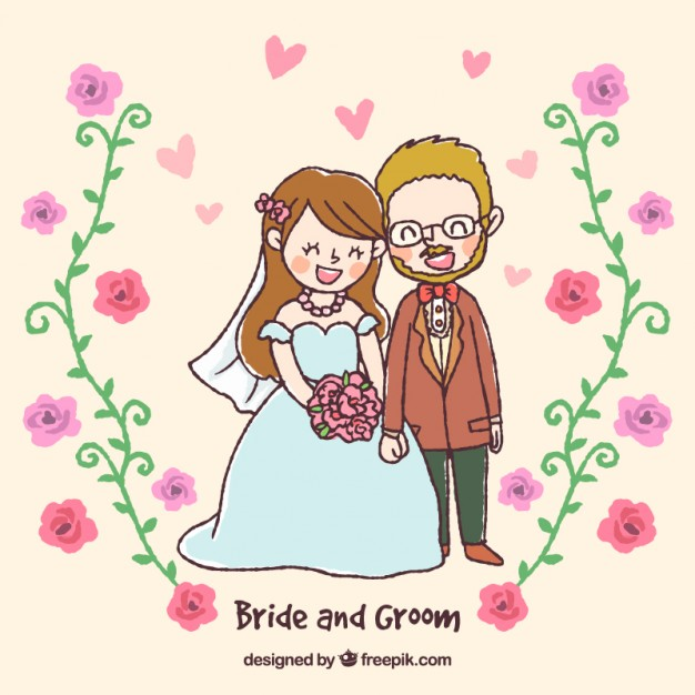 626x626 Drawing Of A Newly Married Couple Vector Free Download