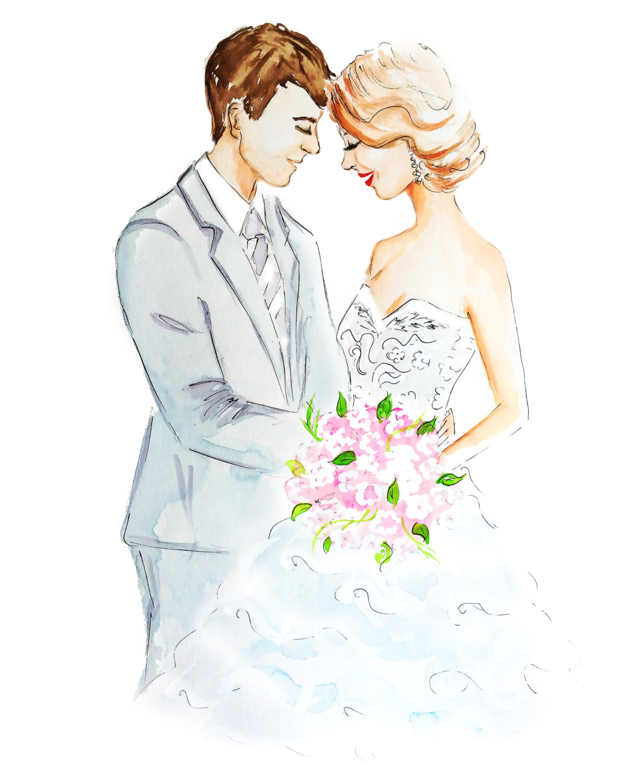 1211x1500 Drawn Wedding Married Couple