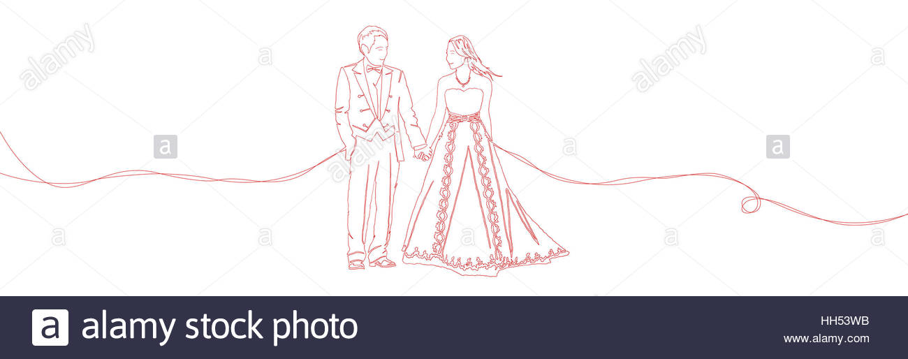 1300x514 One Line Sketch Drawing Illustration Of Lovely Wedding Ceremony