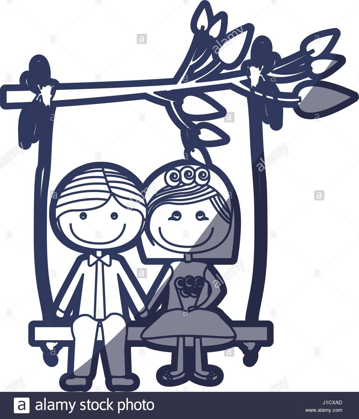 1192x1390 Blue Color Contour Caricature Married Couple In Love Sit In Swing
