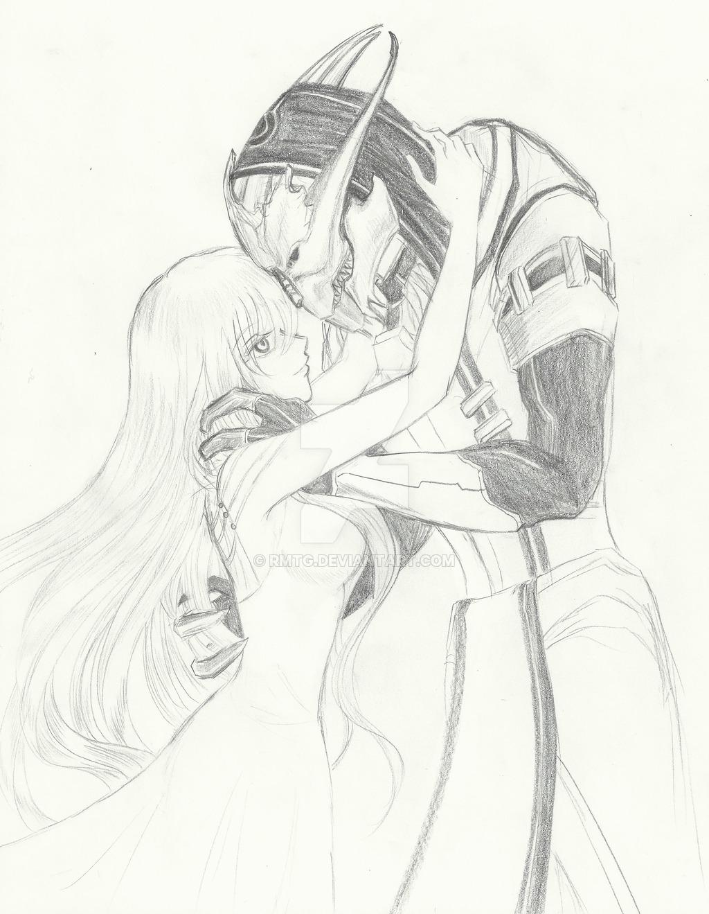 1024x1319 Mass Effect] Saren And Jeanne Shepard Reunion By Rmtg
