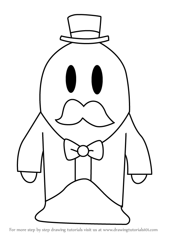 596x843 Learn How To Draw Mayor Len Blustergas From Kirby (Kirby) Step By