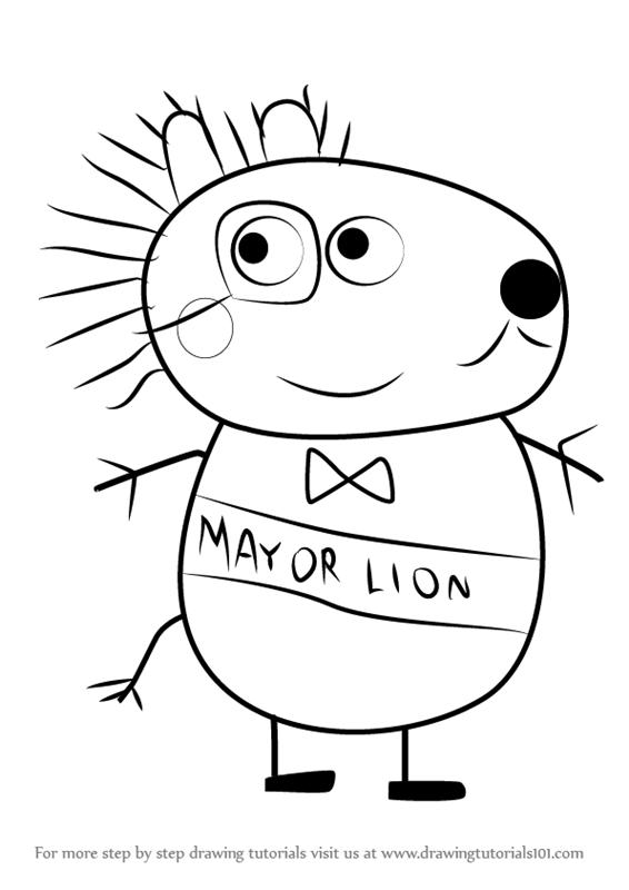 566x800 Learn How To Draw Mayor Lion From Peppa Pig (Peppa Pig) Step By