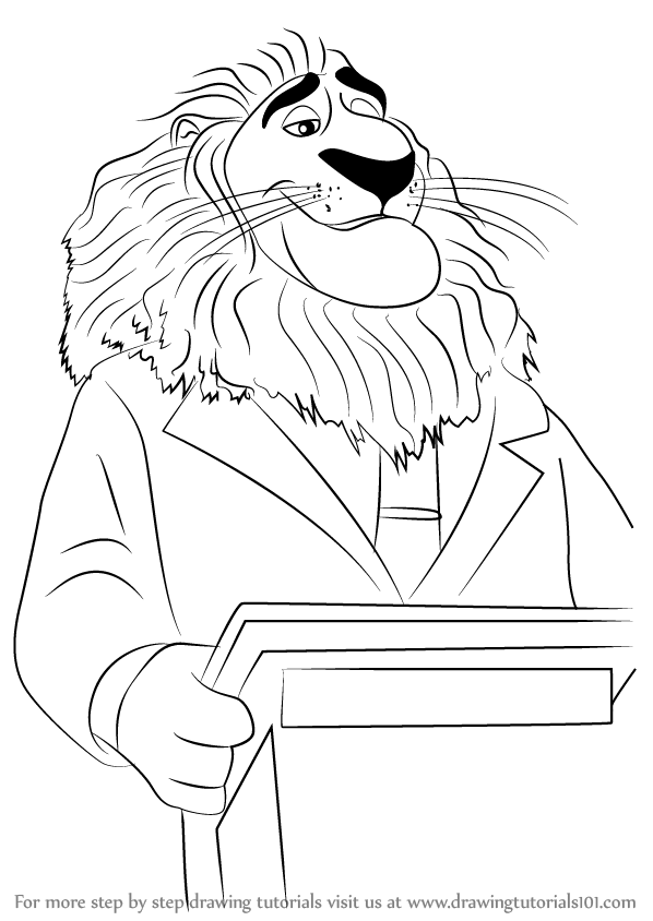 598x844 Learn How To Draw Mayor Lionheart From Zootopia (Zootopia) Step By