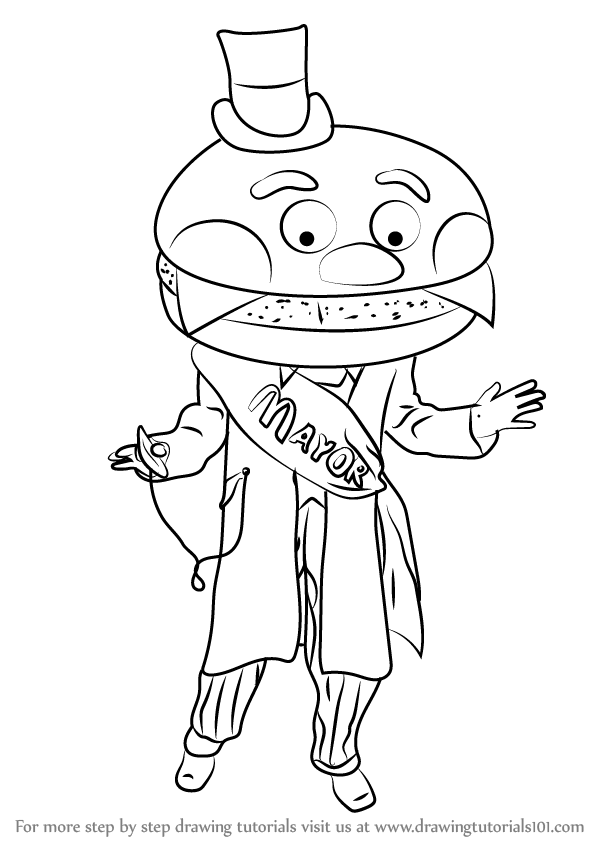 600x846 Learn How To Draw Mayor Mccheese (Mascots) Step By Step Drawing