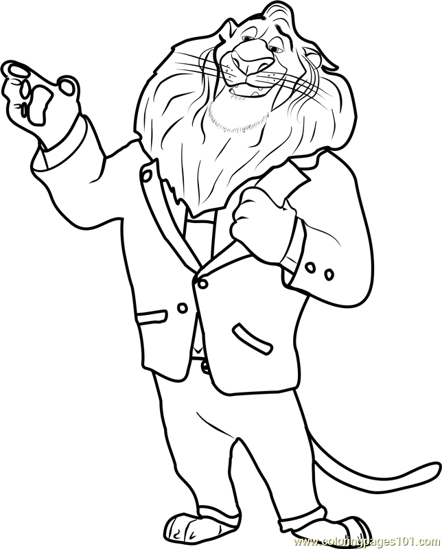644x800 Mayor Lionheart Coloring Page