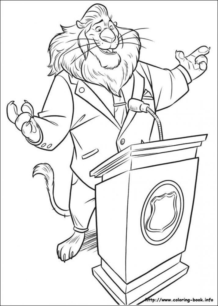 714x1000 Mayor Lionheart Giving Speech In Printable Disney Zootopia