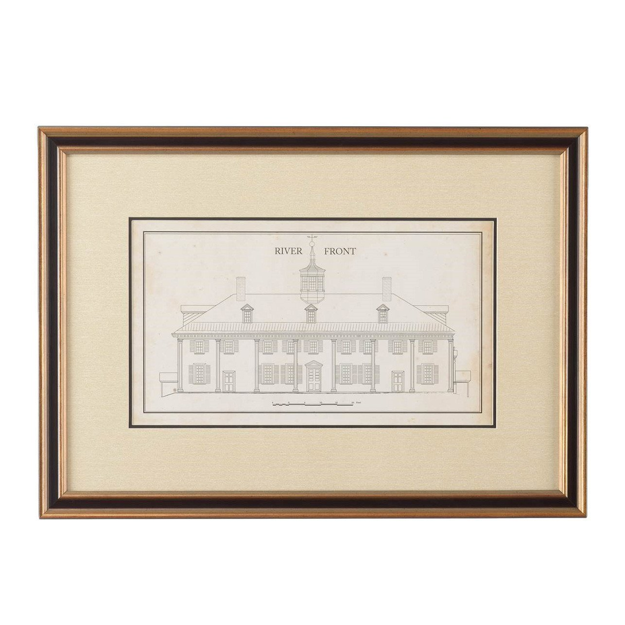 1286x1286 Mount Vernon East Front Measured Drawing Print The Shops