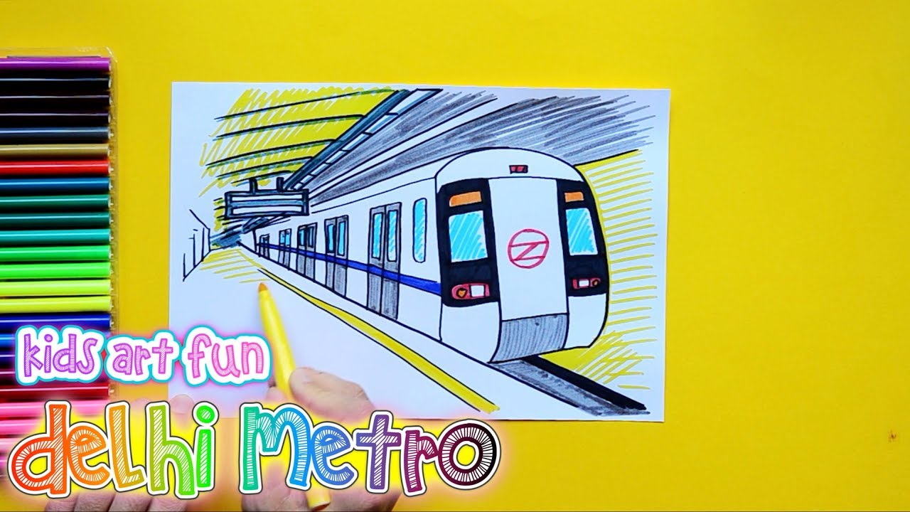 1280x720 How To Draw And Color Delhi Metro Subway Train