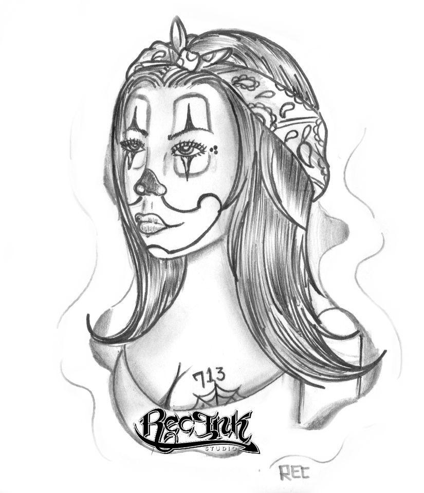 825x960 Clown Woman Payasa Htown Tattoo California Chola By Txrec