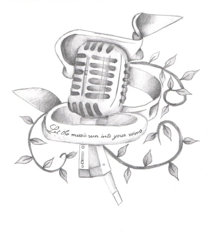 Microphone And Music Notes Drawing
