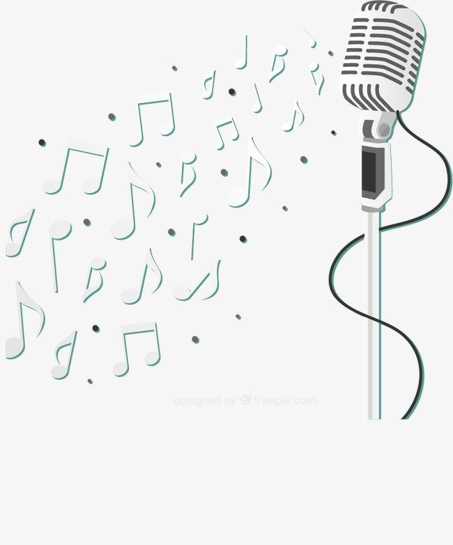 650x782 Silver Vertical Microphone And Musical Notes Vector Material