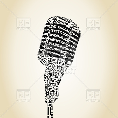 400x400 Microphone Made Musical Notes Vector Image Vector Artwork