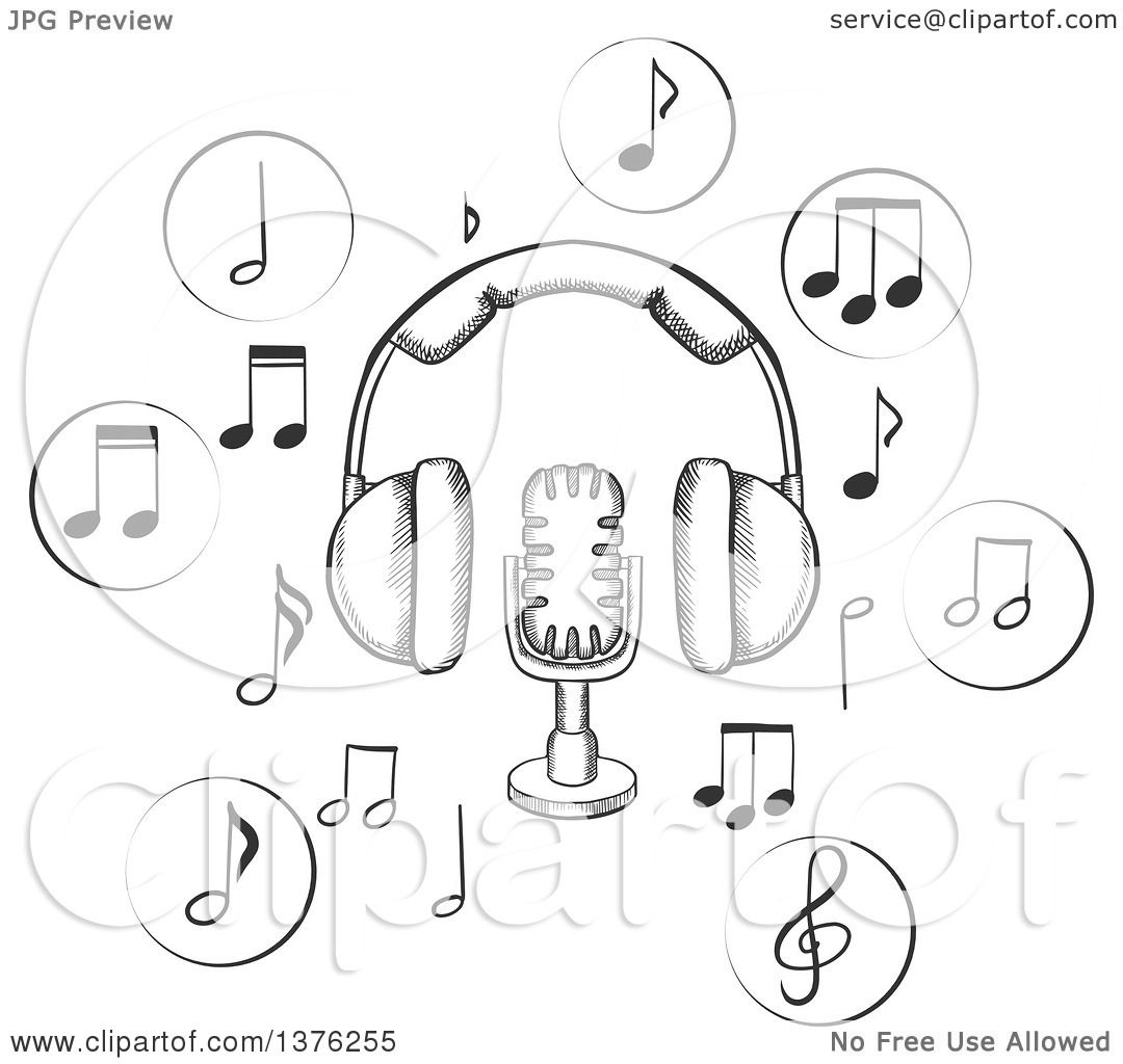 1080x1024 Clipart Of A Black And White Sketched Microphone And Earphones