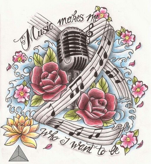 512x557 Music Makes Me Who I Want To Be Flowers Music Notes Microphone