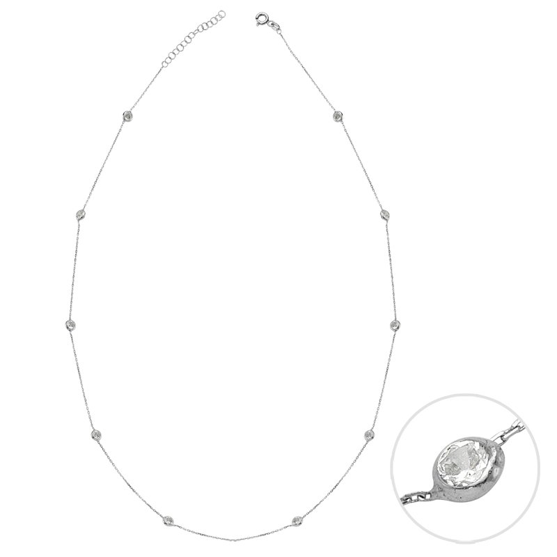 800x800 Short Mimosa Silver Necklace With Silver Crystals Amorium