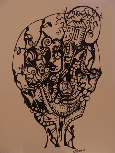 470x624 Mind Games Drawing By Gerri Rowan