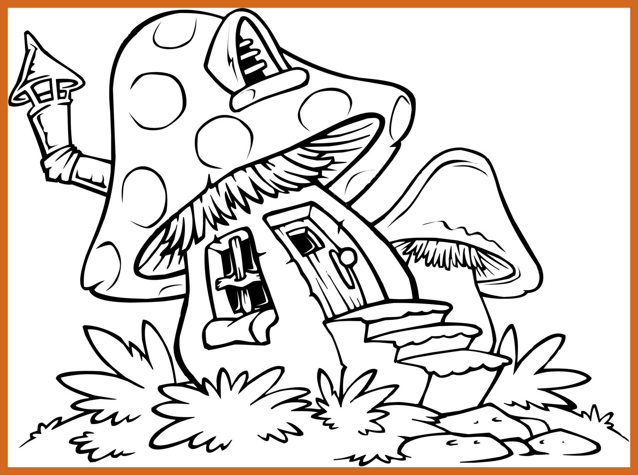 2229x1661 Awesome Mushroom House Coloring Pages Of Trend And Minecraft Ideas
