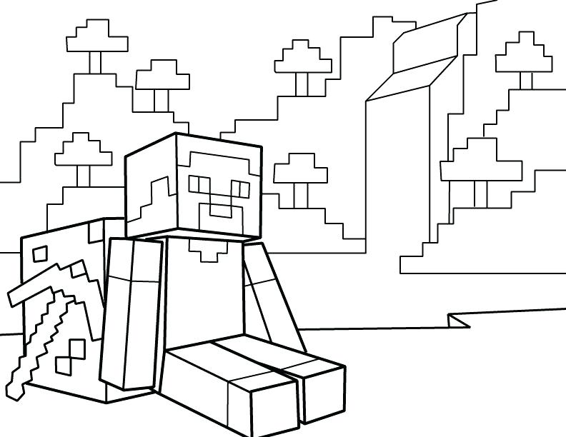 792x612 Resting With Printable Coloring Page Minecraft Pages Free Sheets
