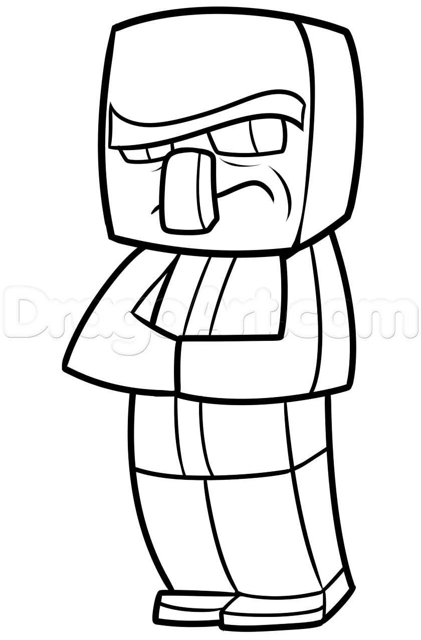 840x1275 How To Draw A Minecraft Villager Step 11 Learning To Draw
