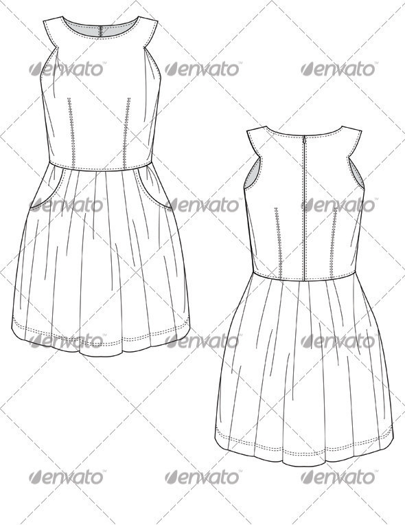 590x764 Flat Sketches For Mini Party Dress With Full Skirt By Studio524