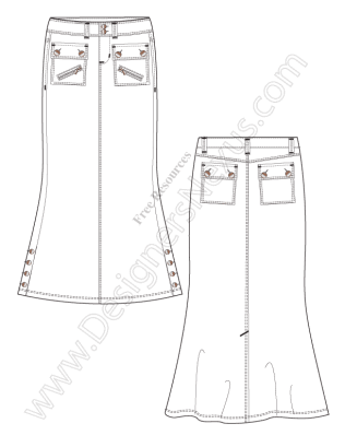 316x409 Free Downloads Illustrator Skirt Flat Sketches