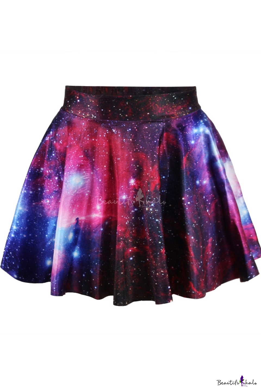960x1440 High Waist Galaxy Tie Dye Pleated Mini Skirt