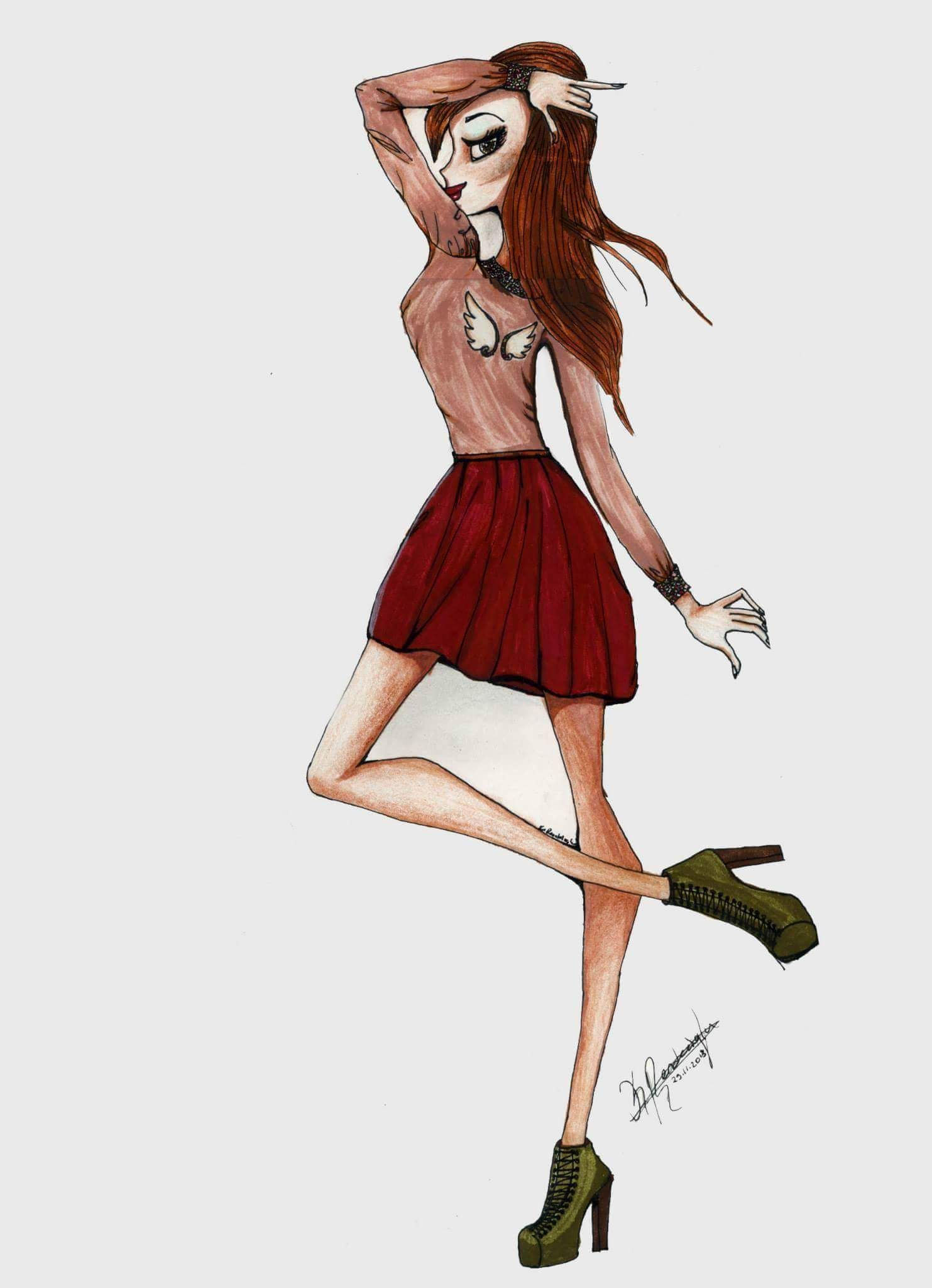 1483x2048 Just Style Blouse And Mini Skirt Drawing Do Not Forget Dark