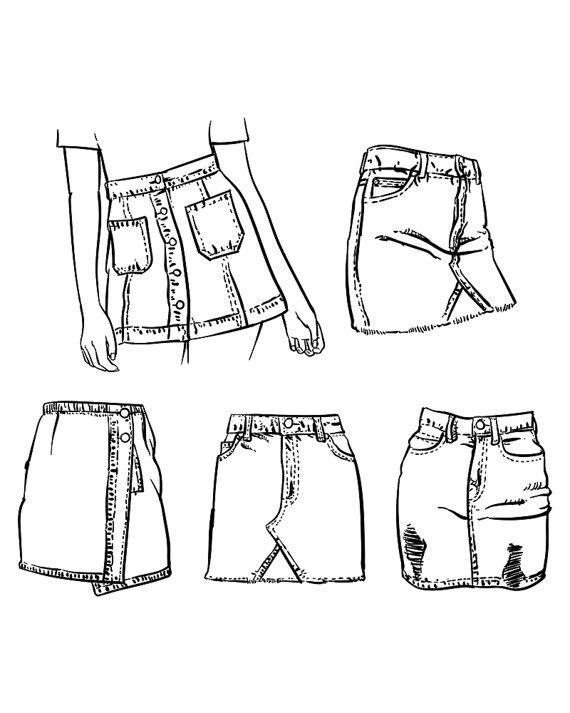 570x713 Denim Skirt Outline On A White Background. Hand Drawn Jean Skirt