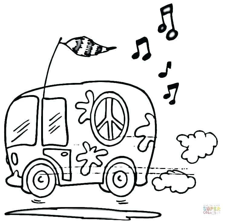 750x730 Coloriages Hippie Minibus Hippie Coloriages Hippies