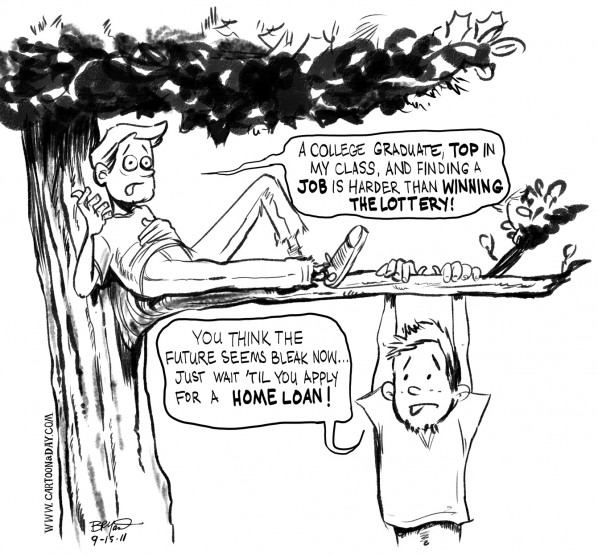 598x555 Stricter Mortgage Rules Mean Leaner Economy Cartoon Cartoon