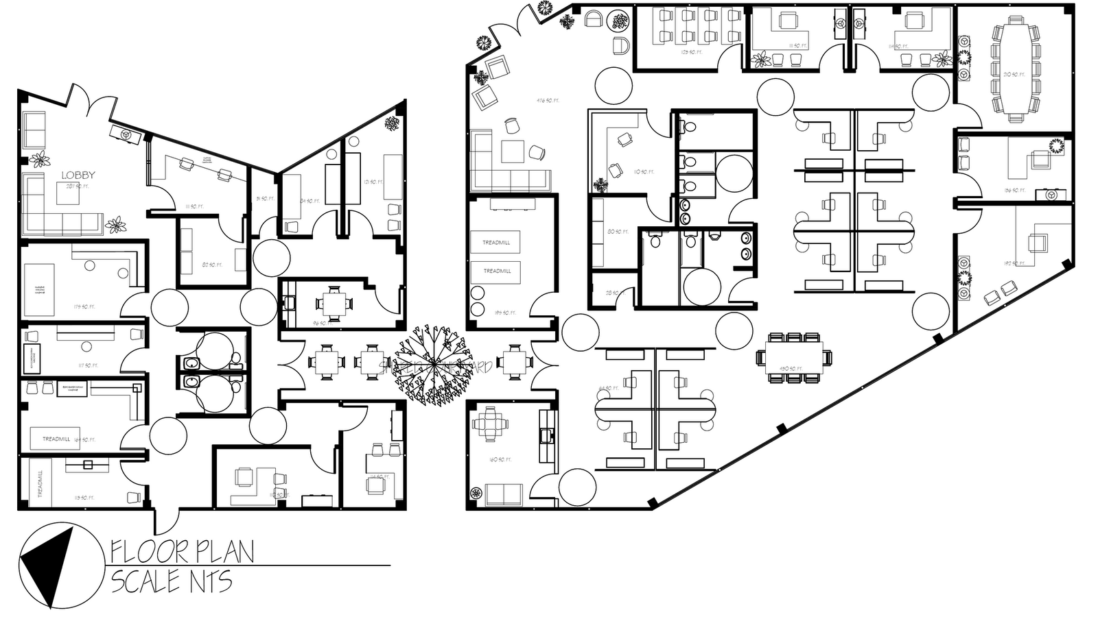 Modern drawing office layout plan at for Commercial floor plans free