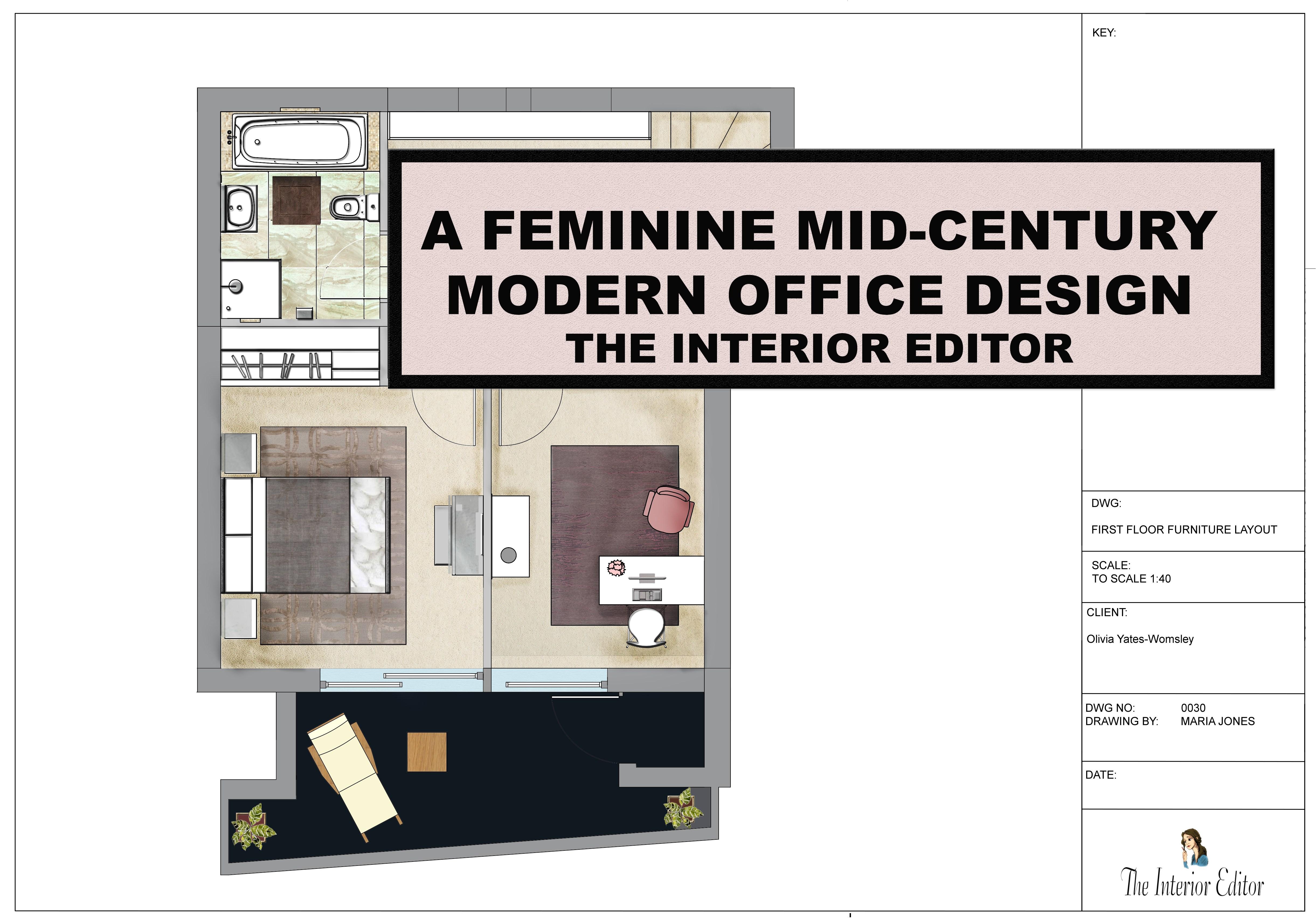 4884x3431 A Feminine Mid Century Modern Office Design