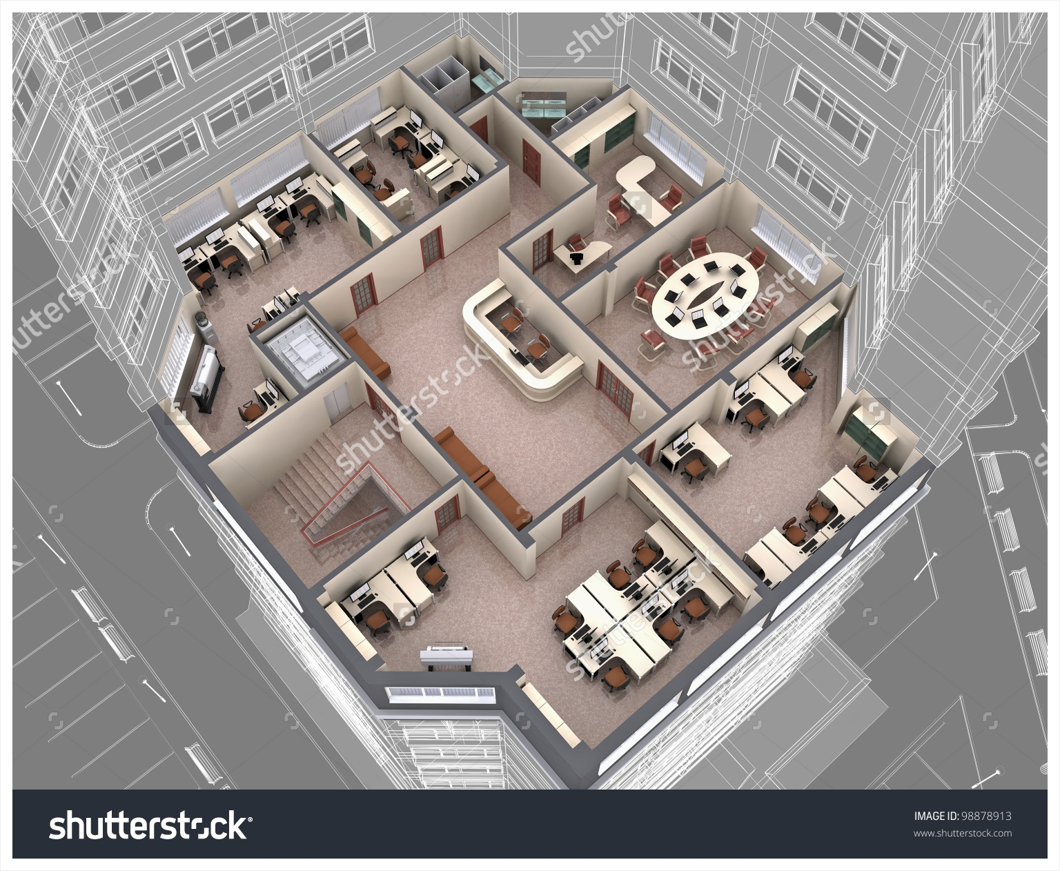1536x1262 Modern Office Building Interior 3d Drawing Featuring Common Floor