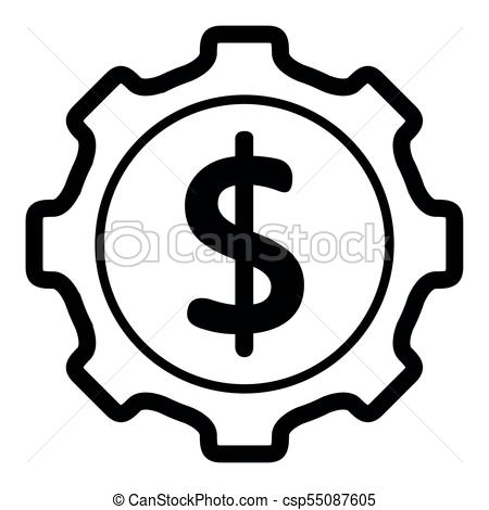 450x470 Gear With With The Money Symbol. Gear Piece With The Money