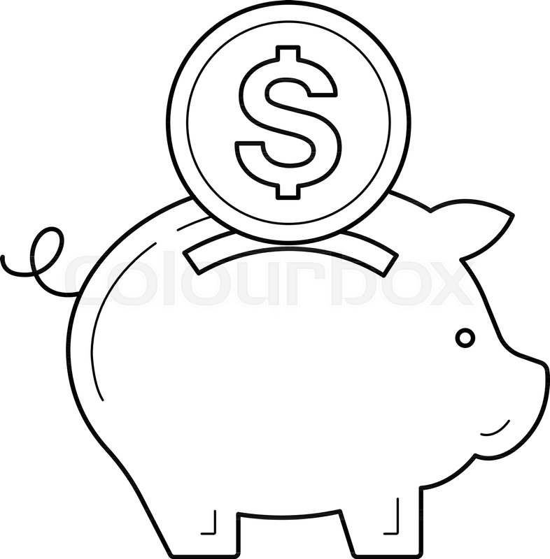 786x800 Piggy Bank For Money Save Vector Line Icon Isolated On White