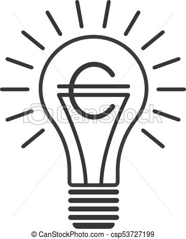 366x470 Black Outline Vector Lightbulb With Euro, Simple Linear Business
