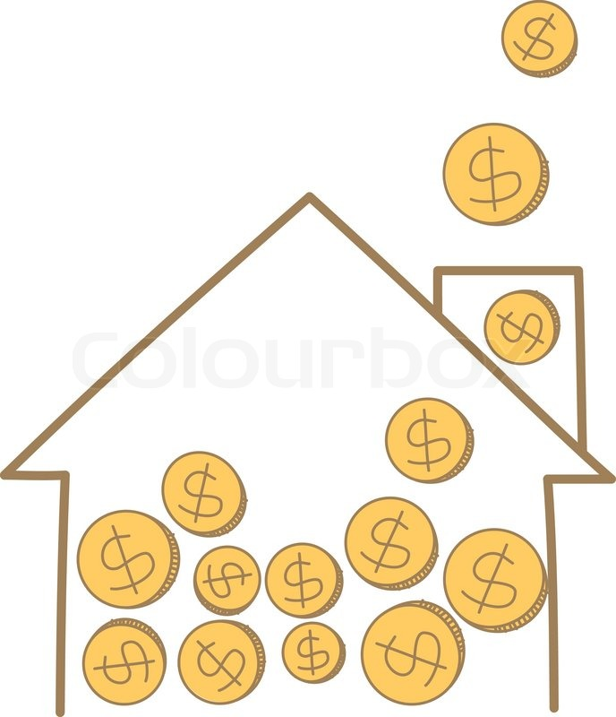 688x800 Cartoon Drawing Of Money Coin Falling On House Frame Stock