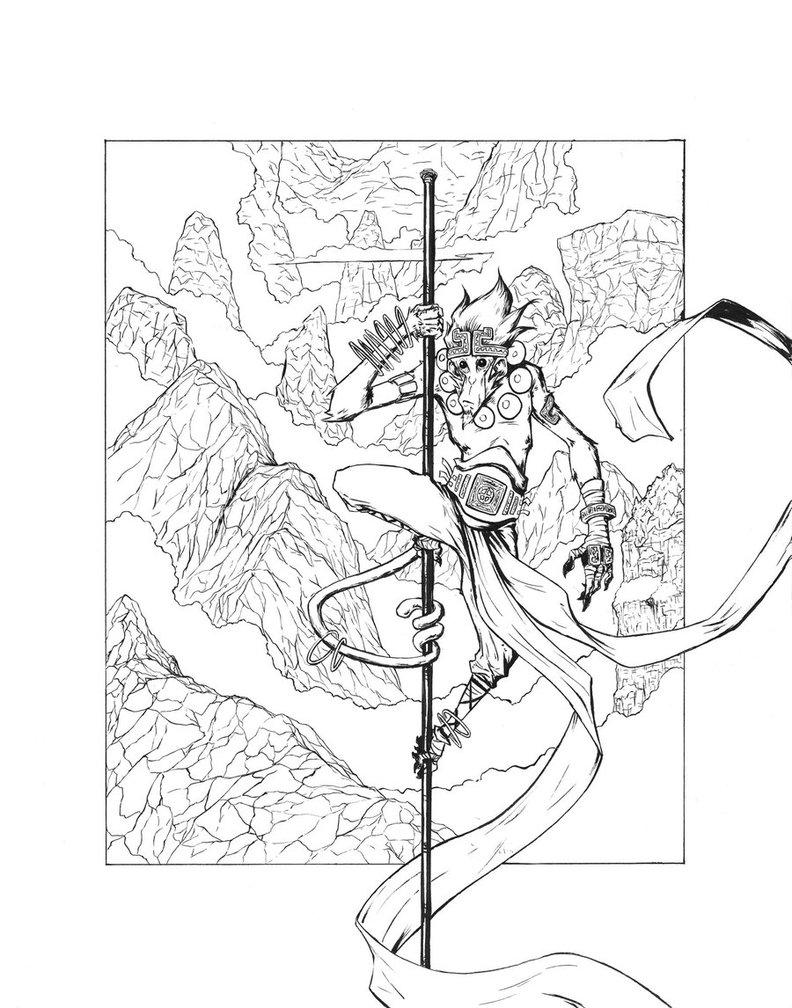 792x1008 Monkey King Lines By Sketch Geek