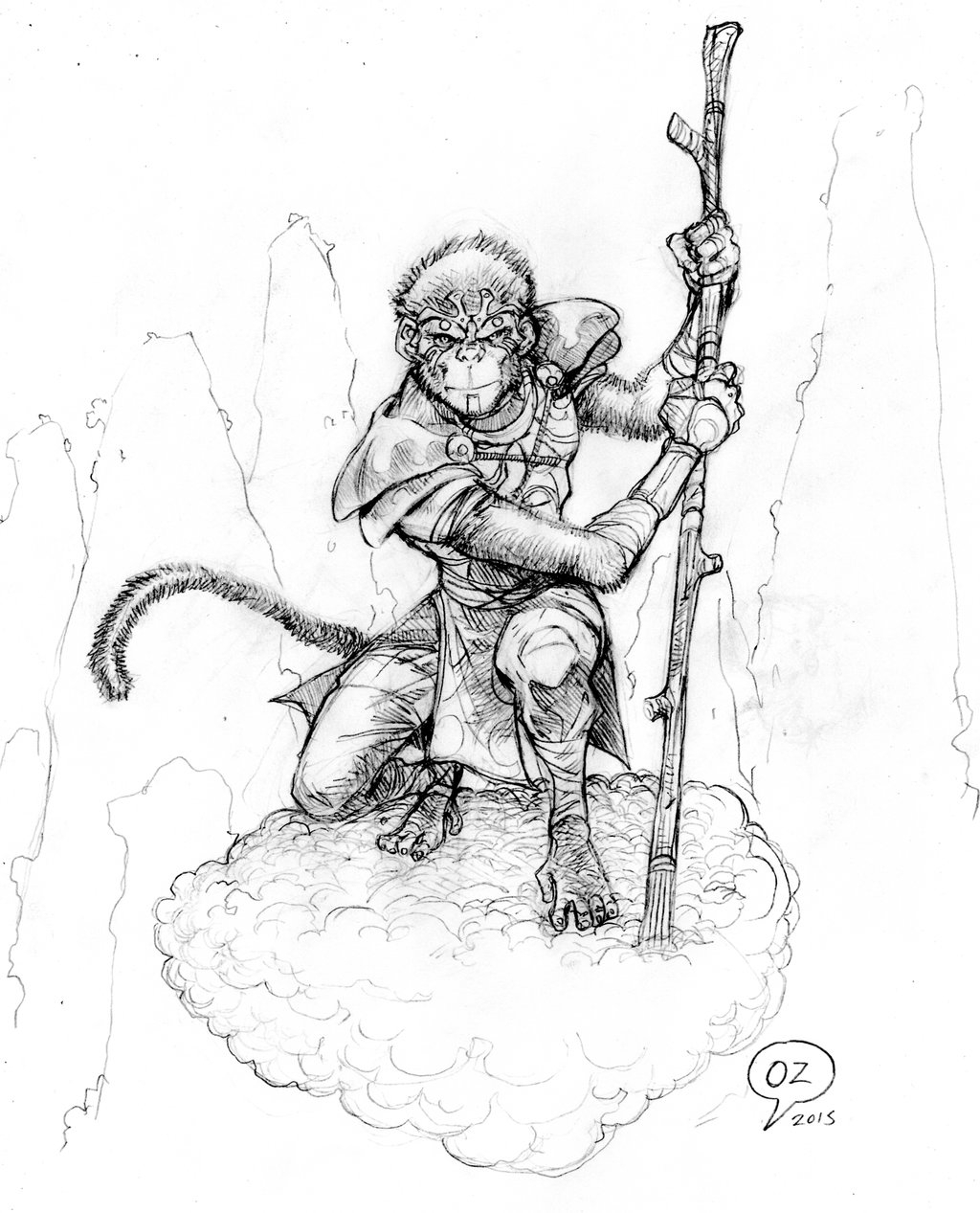 1024x1267 Pencil Sketch Of Monkey Monkey King (Sun Wukong) Sketchozartwork