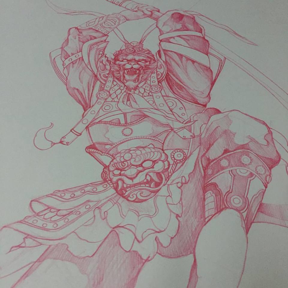 960x960 Impressive Red Ink Monkey King Tattoo Design