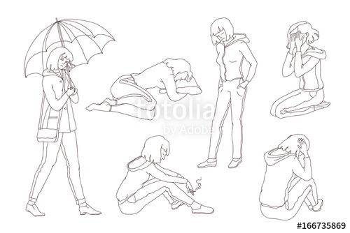 500x334 Vector Isolated Set Sketch Illustration Sad Girl Teen. Young Woman