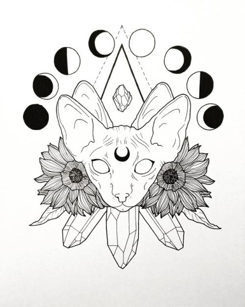 500x625 Cat And Moon Tattoo Tumblr