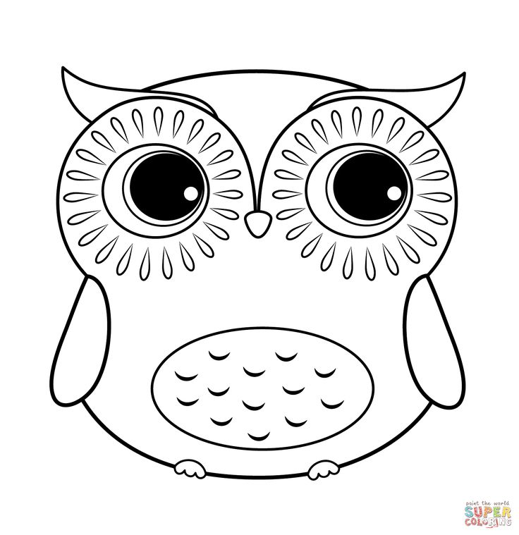736x759 Owl Coloring Page Easy Cute Owl Drawing