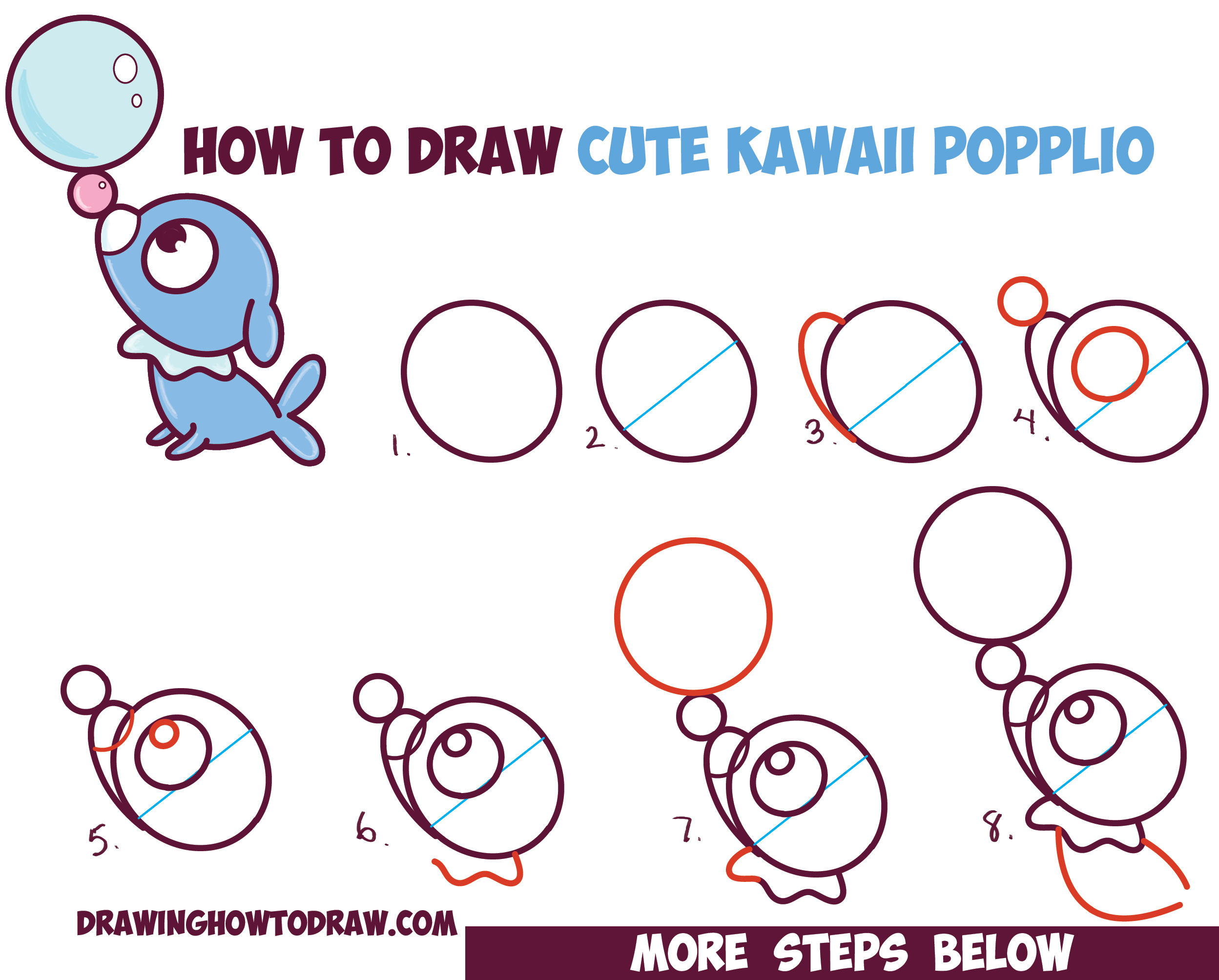 2497x2008 How To Draw Cute Kawaii Chibi Popplio From Pokemon Sun And Moon